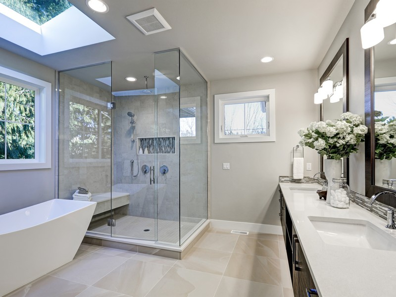 Shower room in a glass design